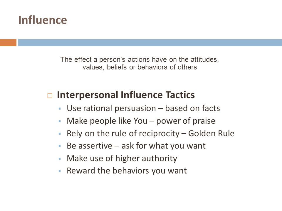 Influence Interpersonal Influence Tactics