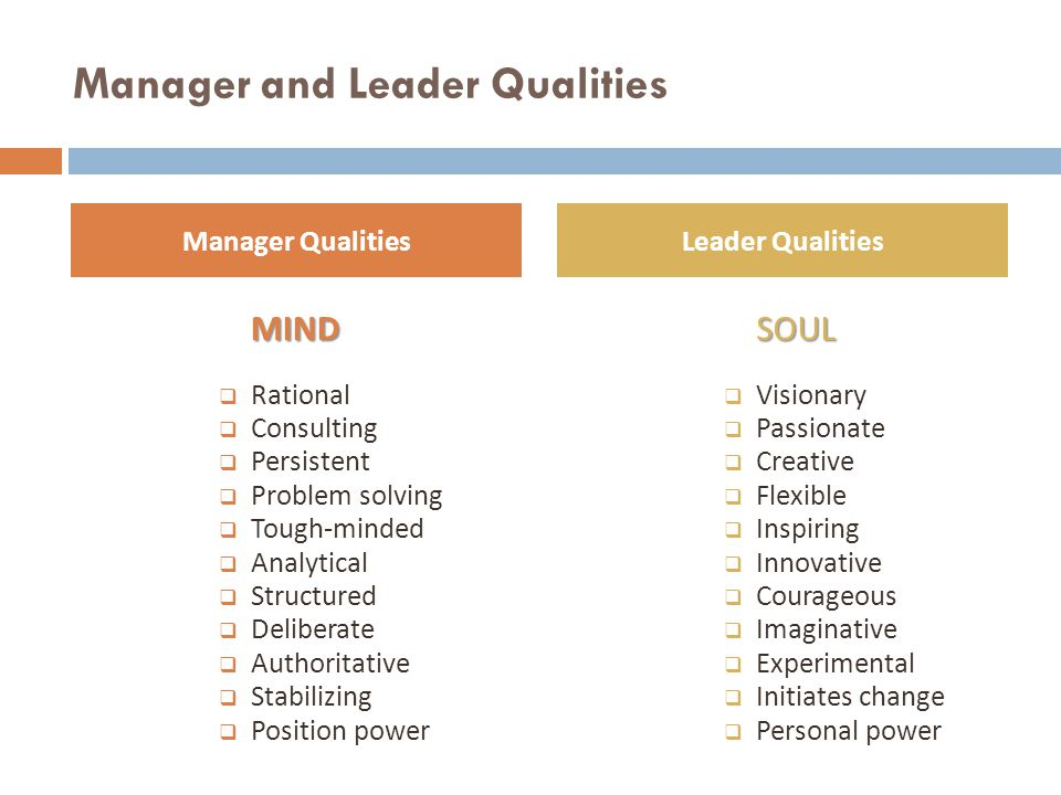 Manager and Leader Qualities