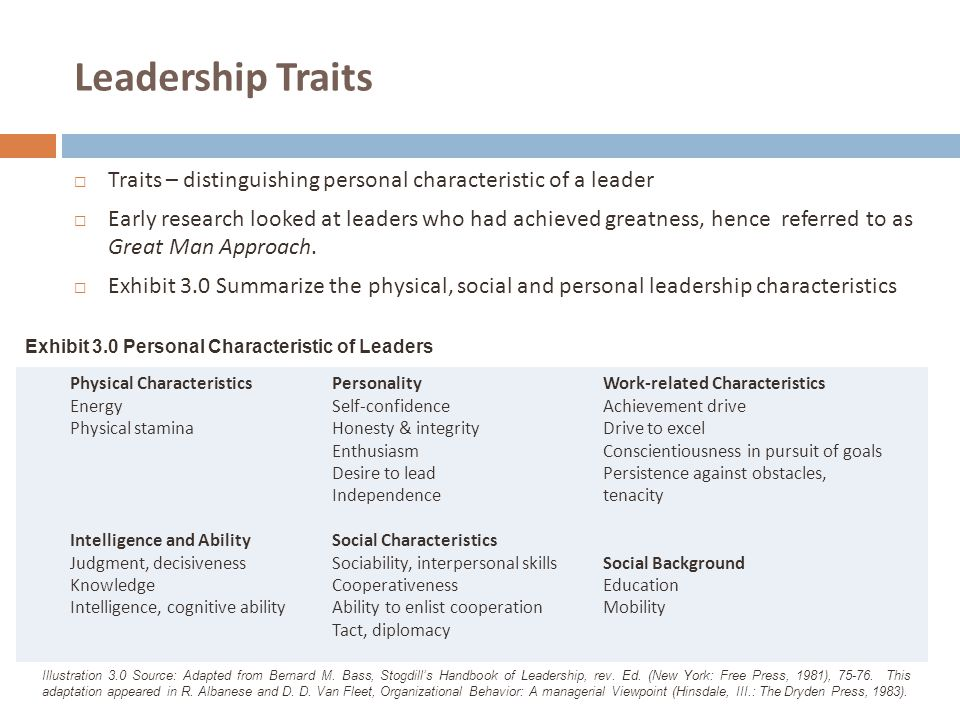 Leadership Traits Traits – distinguishing personal characteristic of a leader.