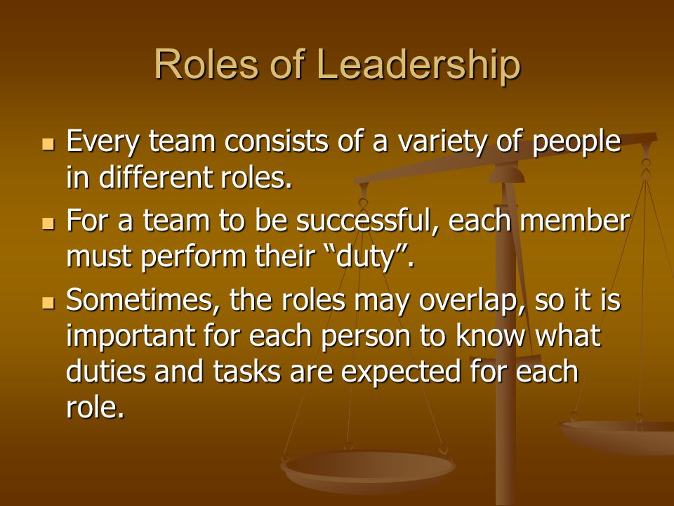 Roles of Leadership Every team consists of a variety of people in different roles.