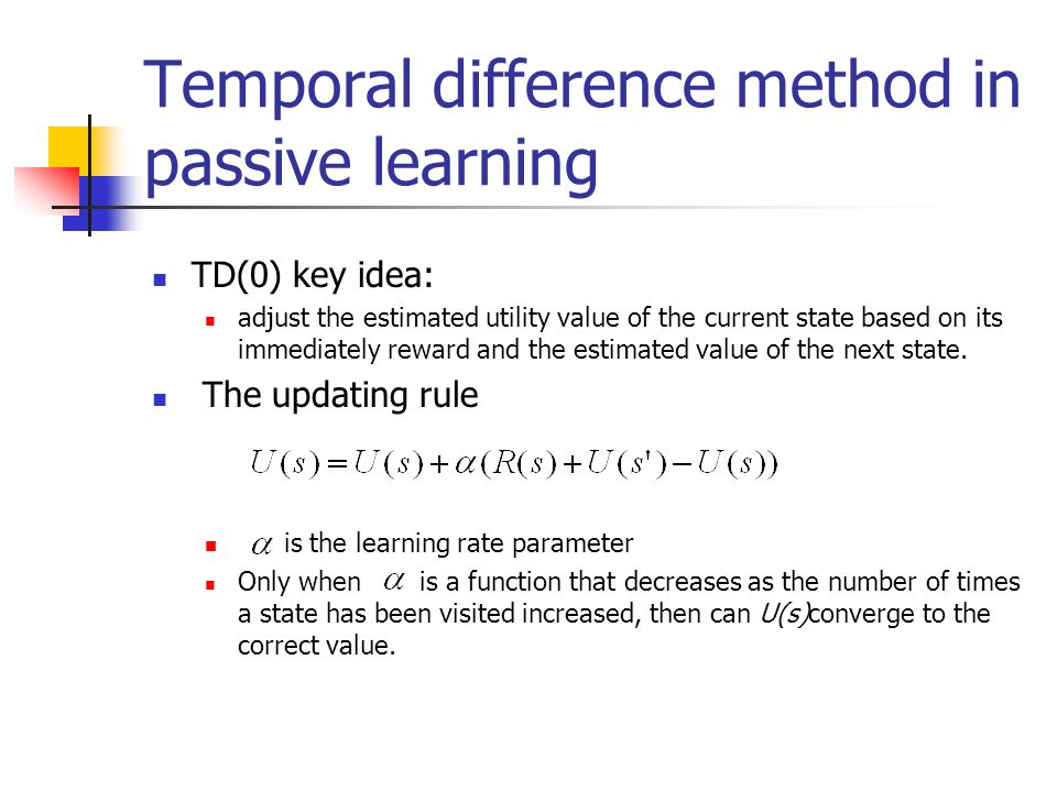 Temporal difference method in passive learning