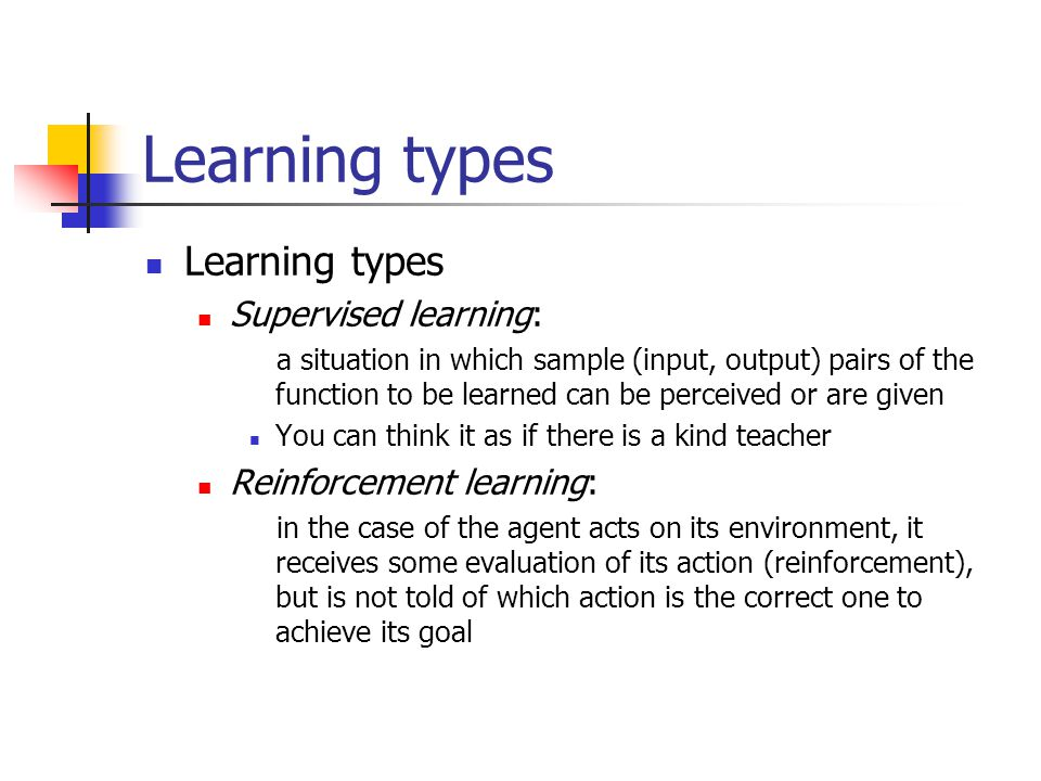 Learning types Learning types Supervised learning:
