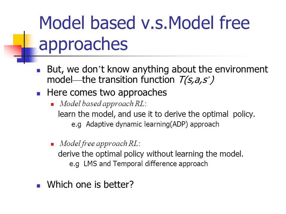 Model based v.s.Model free approaches