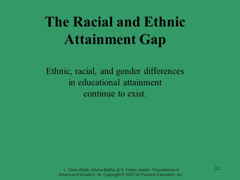The Racial and Ethnic Attainment Gap Ethnic, racial, and gender differences in educational attainment continue to exist.