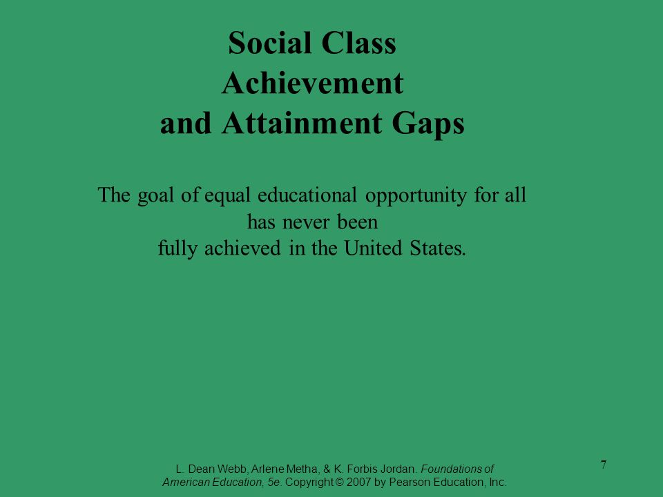 Social Class Achievement and Attainment Gaps The goal of equal educational opportunity for all has never been fully achieved in the United States.
