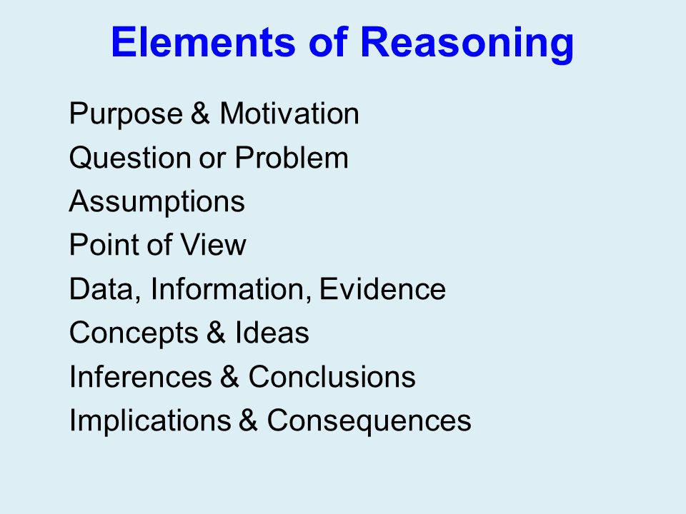 Elements of Reasoning Purpose & Motivation Question or Problem