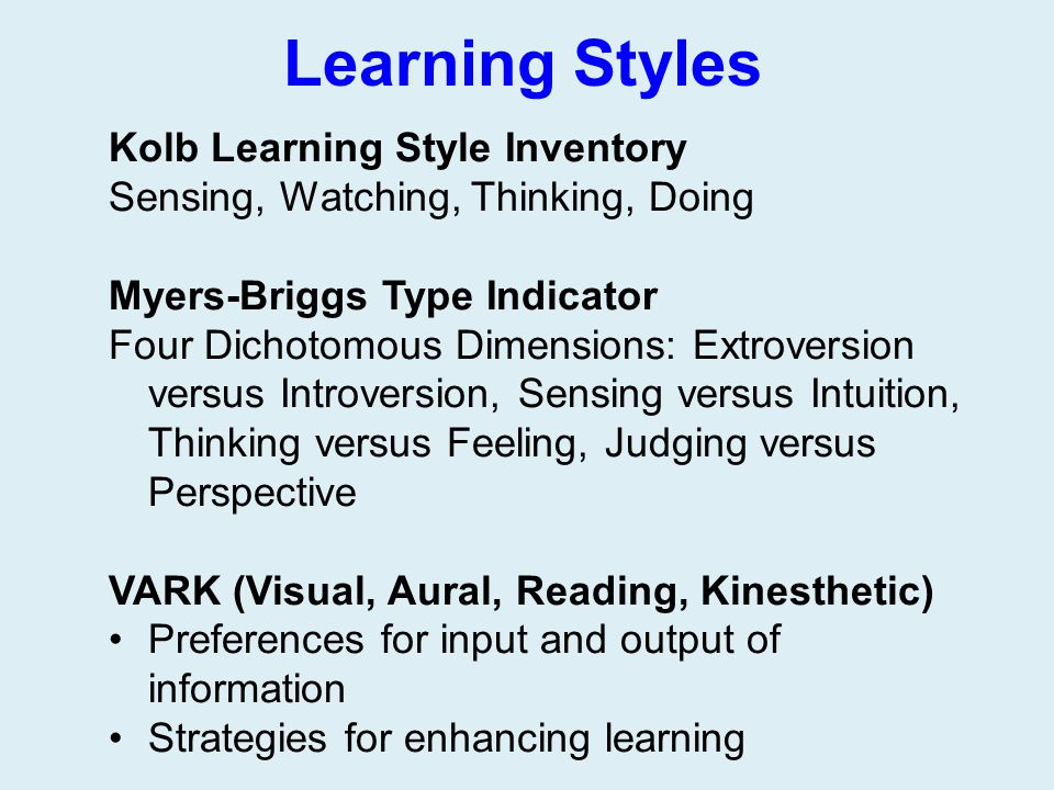Learning Styles Kolb Learning Style Inventory