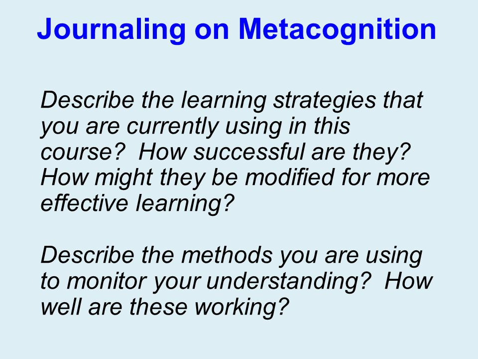 Journaling on Metacognition