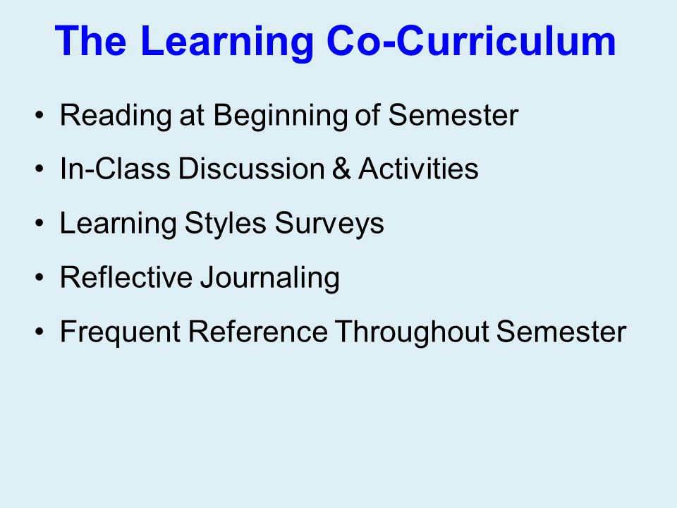 The Learning Co-Curriculum