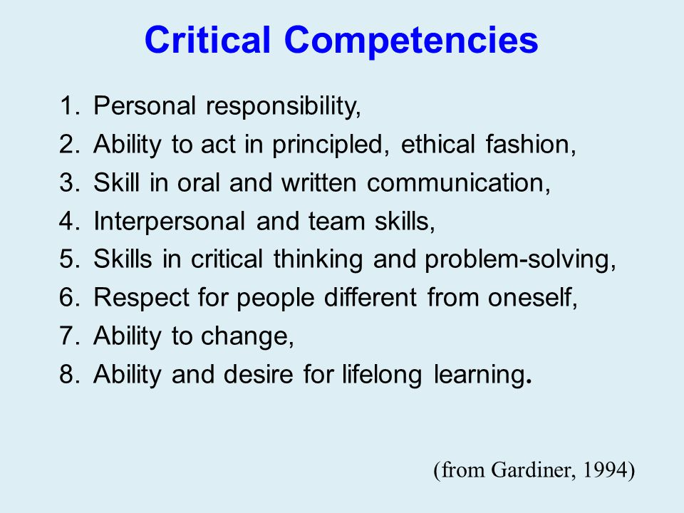 Critical Competencies