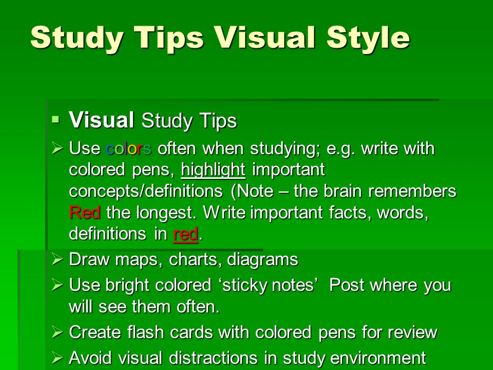 Study Tips Visual Style