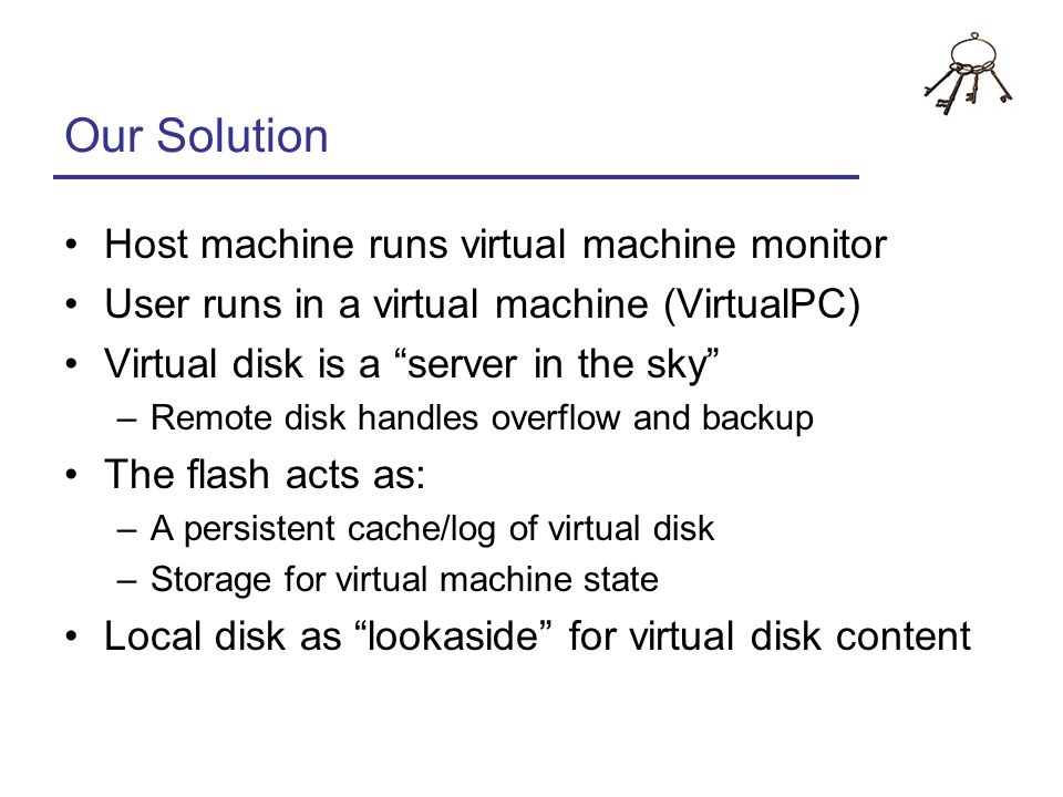 Our Solution Host machine runs virtual machine monitor