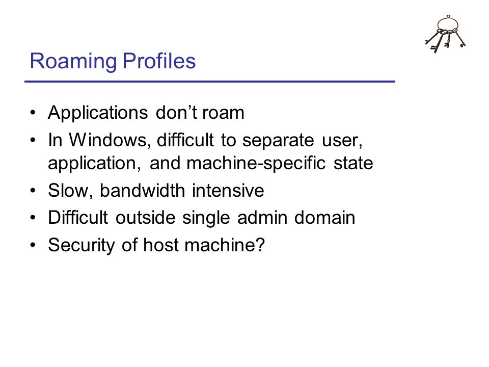 Roaming Profiles Applications don't roam