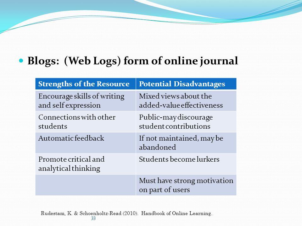 Blogs: (Web Logs) form of online journal