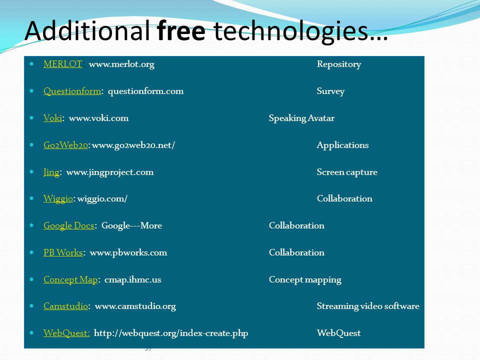 Additional free technologies…