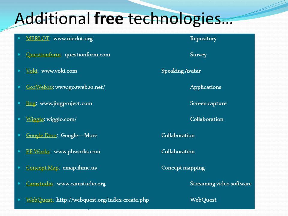 Additional free technologies…