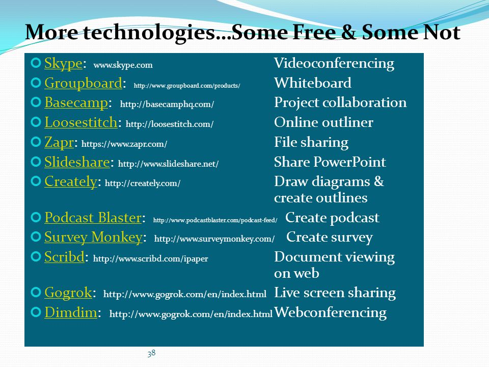 More technologies…Some Free & Some Not