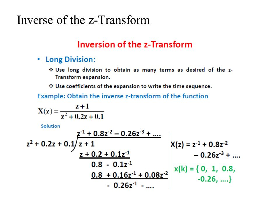Inverse of the z-Transform
