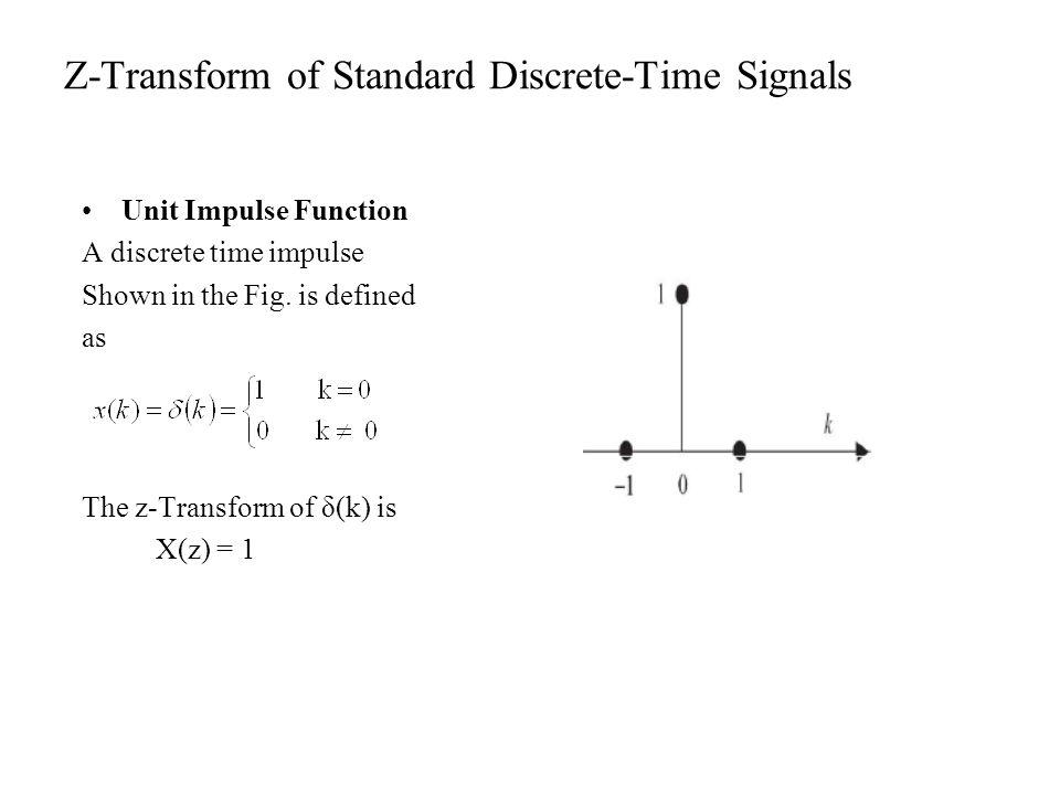 Z-Transform of Standard Discrete-Time Signals
