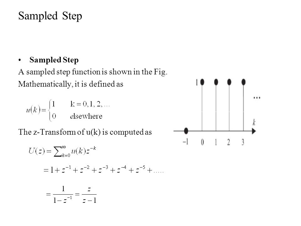 Sampled Step Sampled Step A sampled step function is shown in the Fig.