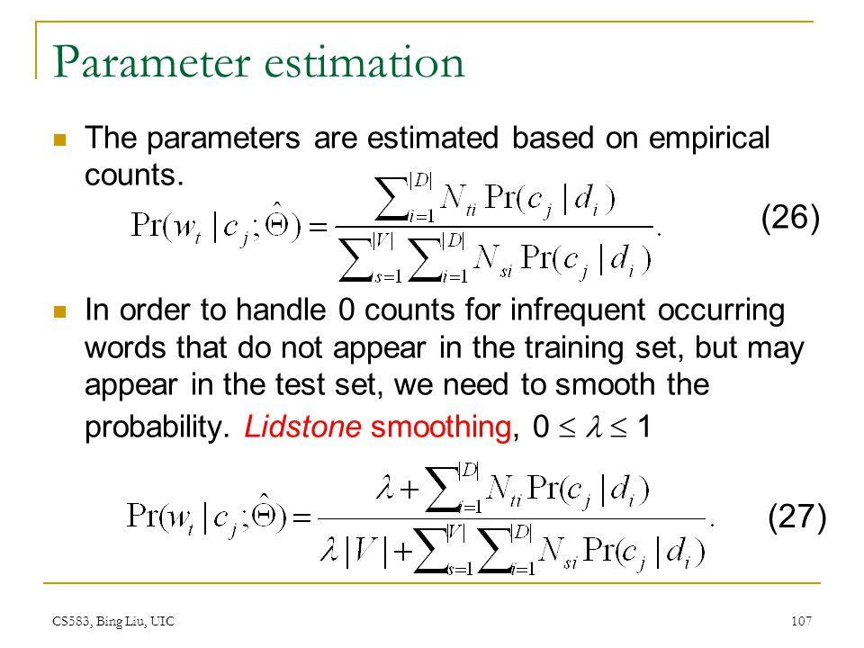 Parameter estimation (26) (27)