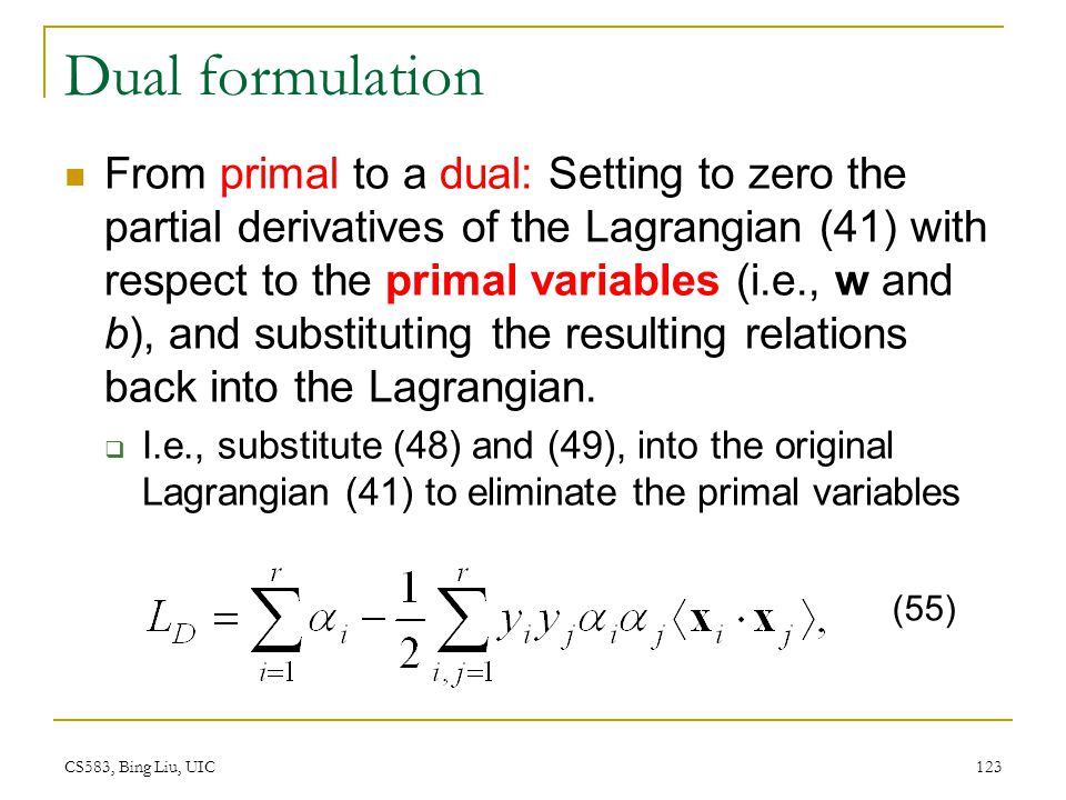 Dual formulation