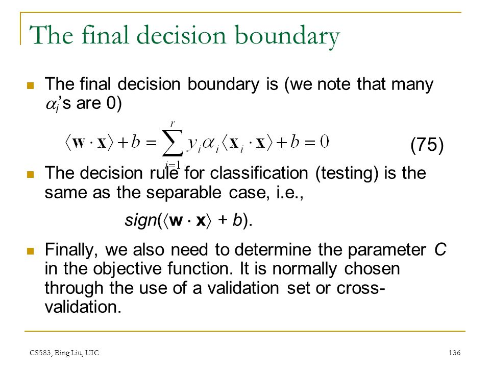 The final decision boundary