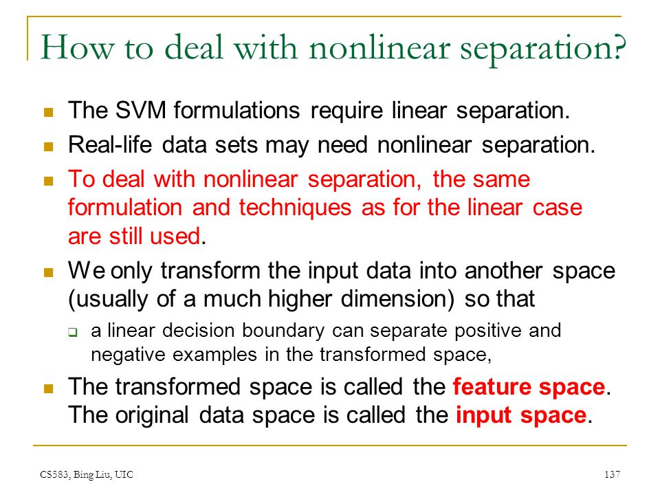 How to deal with nonlinear separation