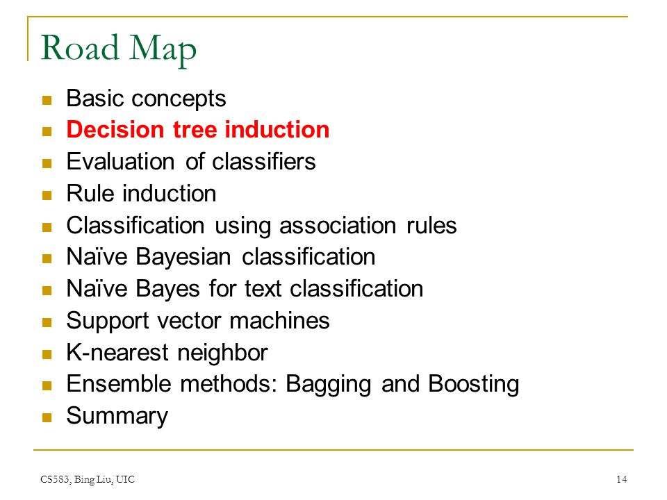 Road Map Basic concepts Decision tree induction