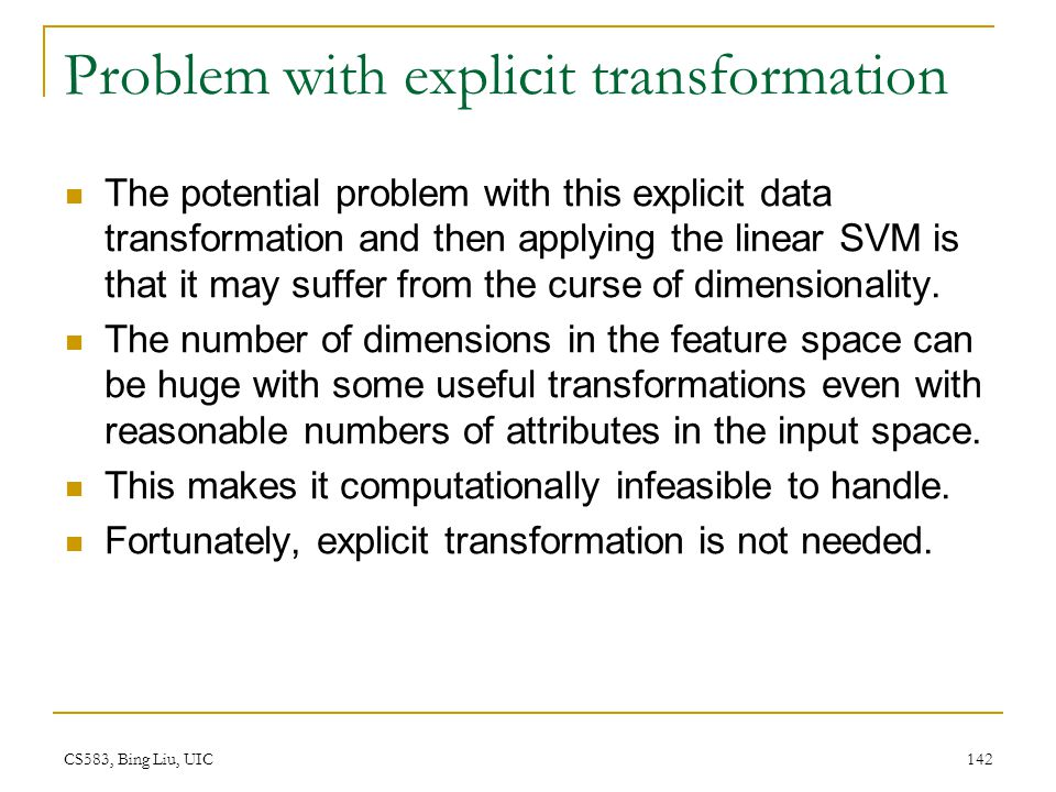 Problem with explicit transformation
