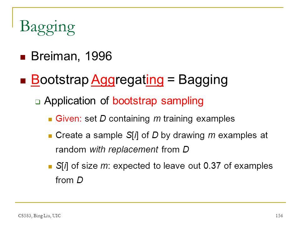 Bagging Bootstrap Aggregating = Bagging Breiman, 1996