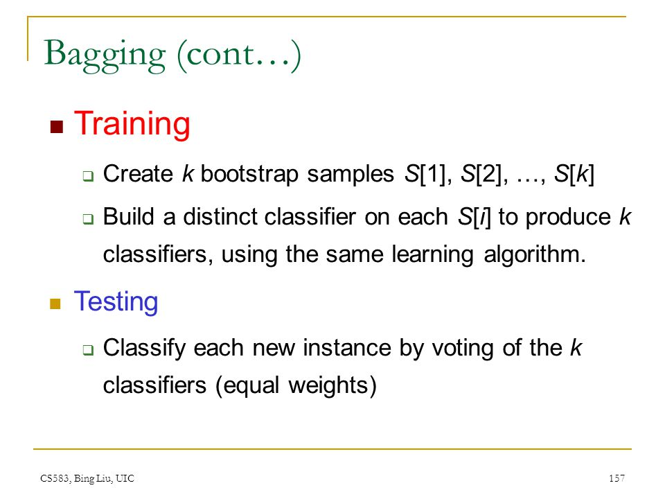 Bagging (cont…) Training Testing
