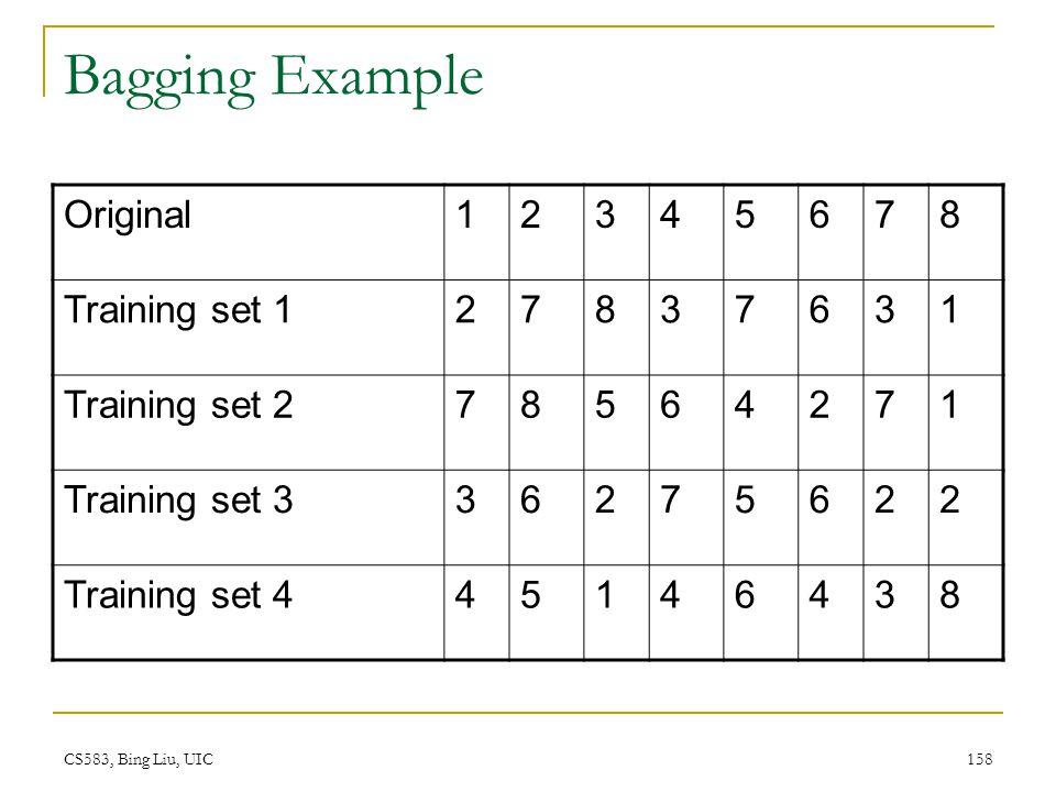 Bagging Example Original 1 2 3 4 5 6 7 8 Training set 1 Training set 2