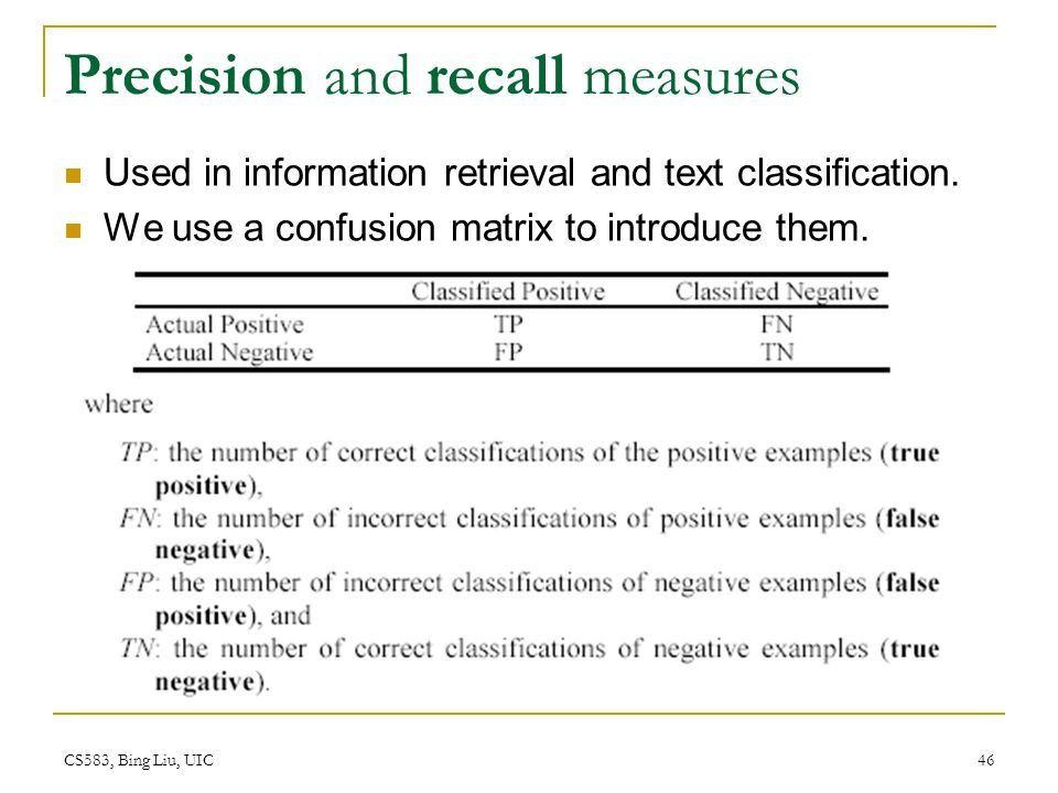 Precision and recall measures
