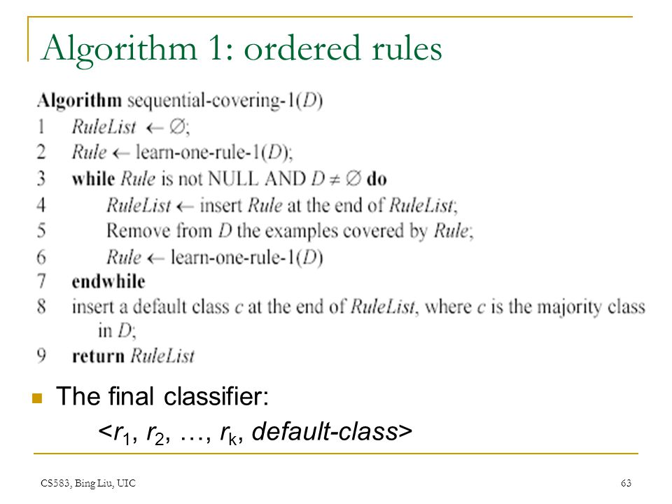 Algorithm 1: ordered rules