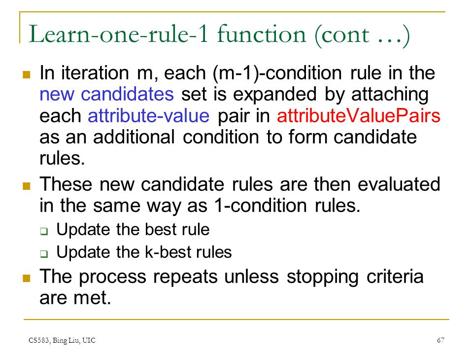 Learn-one-rule-1 function (cont …)