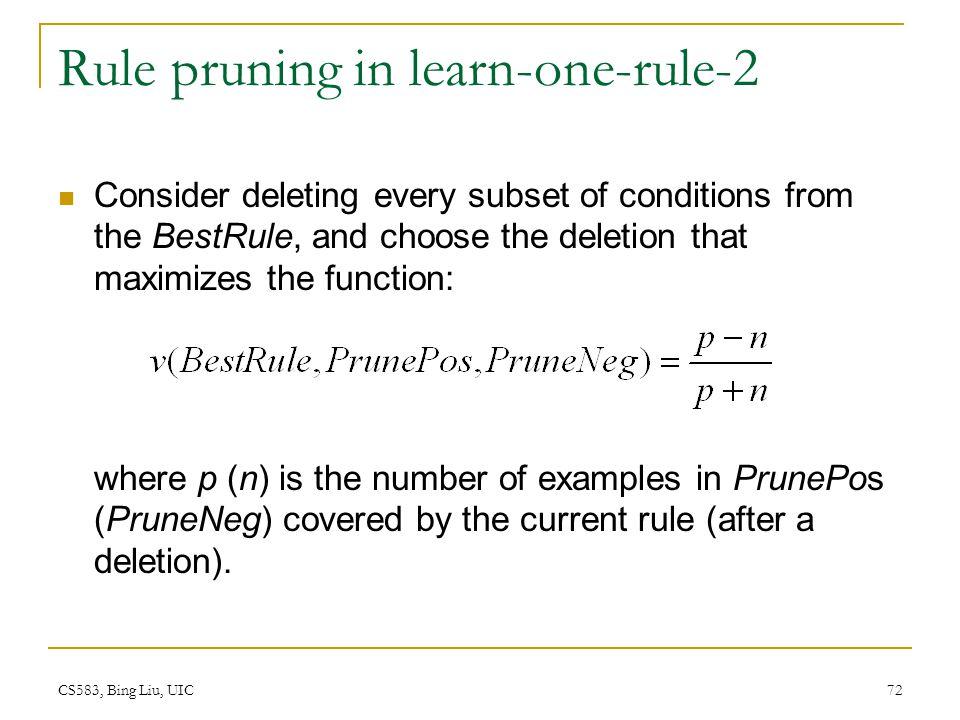 Rule pruning in learn-one-rule-2