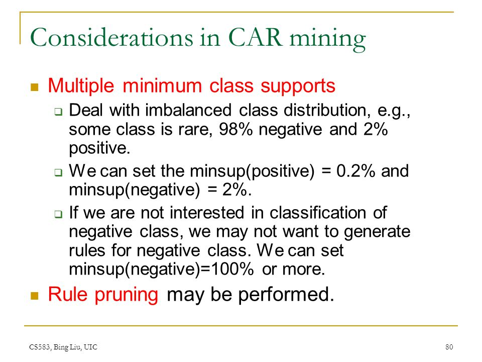 Considerations in CAR mining
