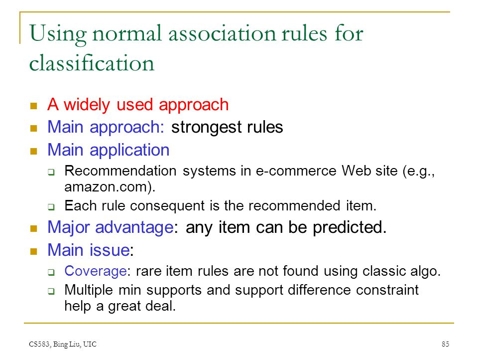 Using normal association rules for classification
