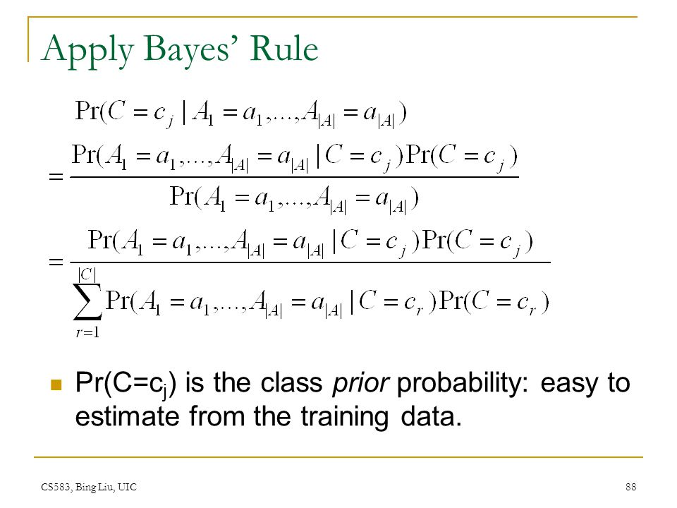 Apply Bayes' Rule Pr(C=cj) is the class prior probability: easy to estimate from the training data.