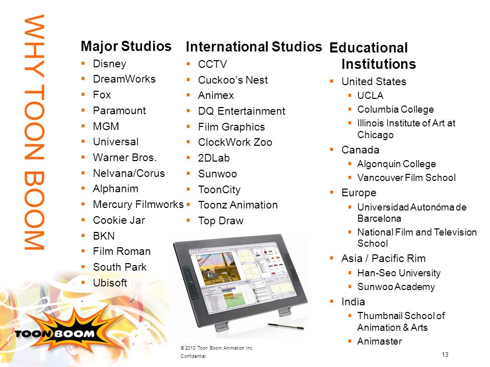 WHY TOON BOOM Major Studios International Studios