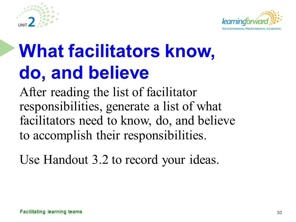 What facilitators know, do, and believe