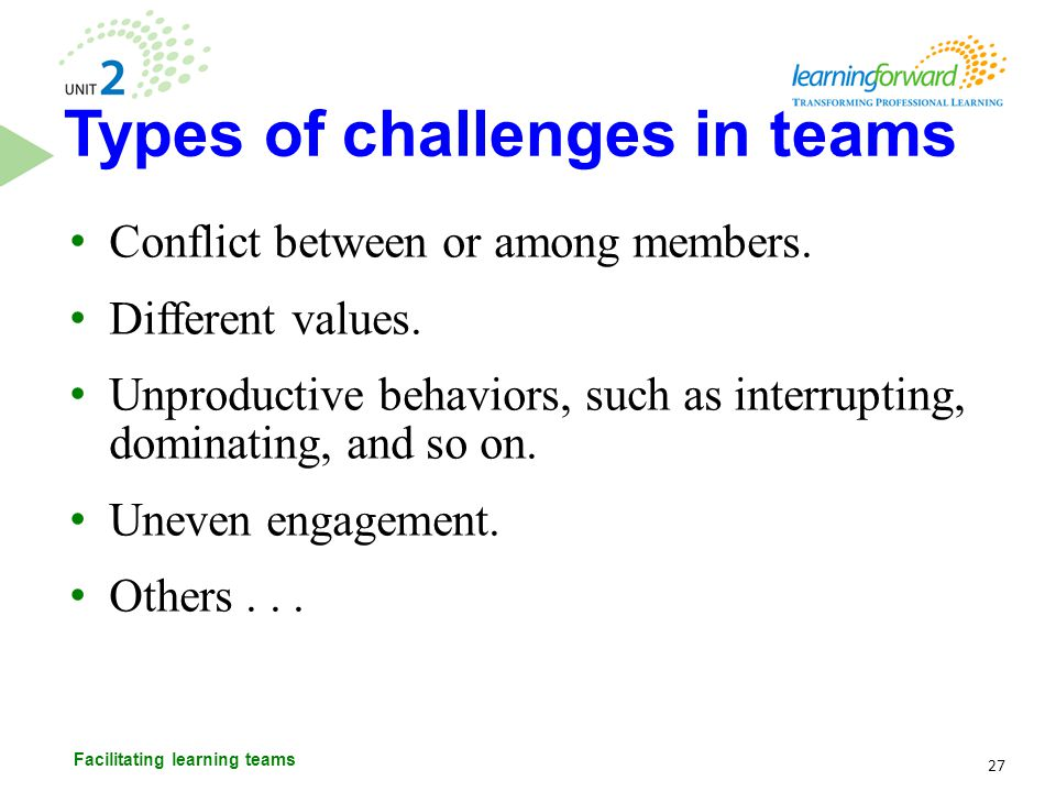 Types of challenges in teams