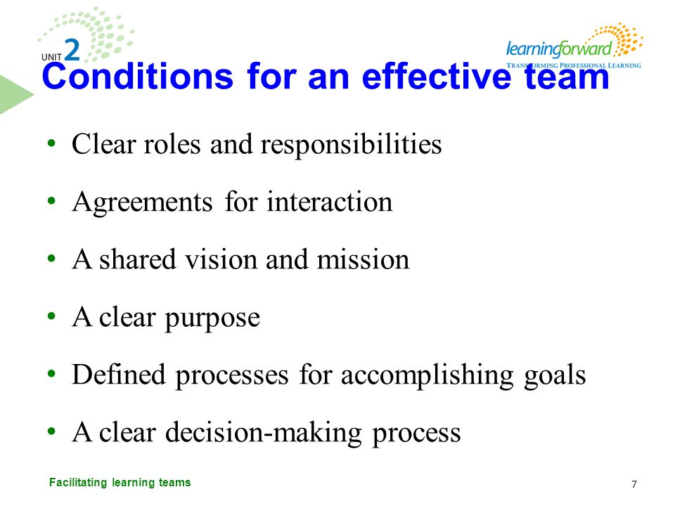 Conditions for an effective team
