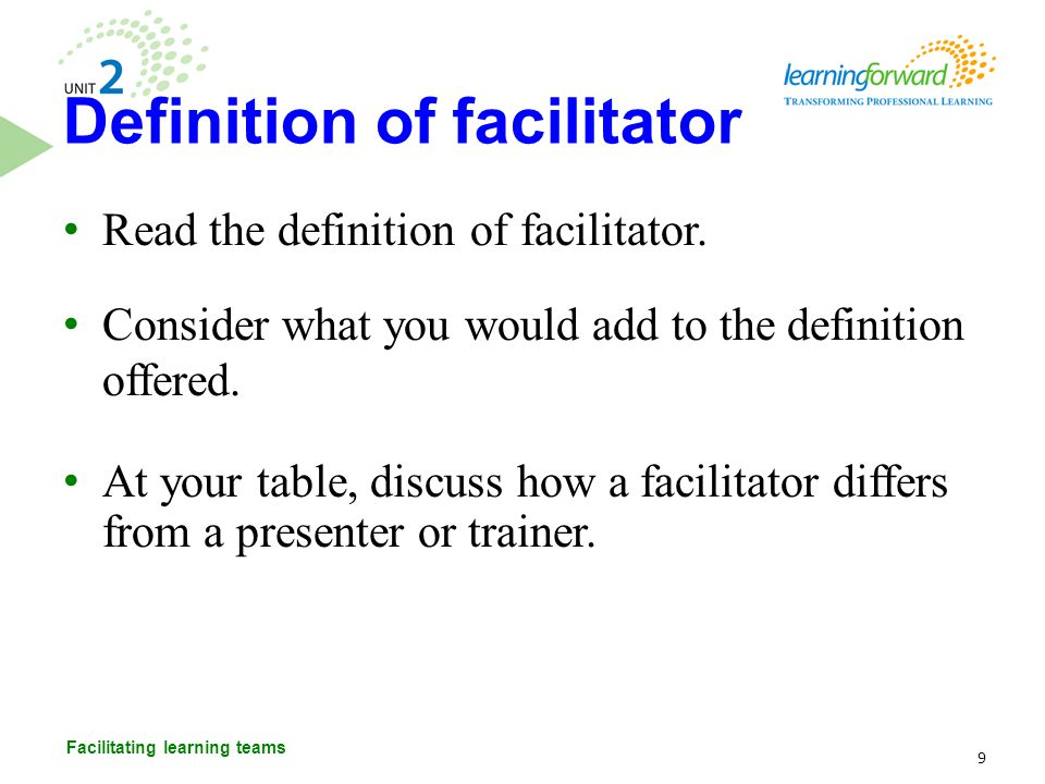 Definition of facilitator
