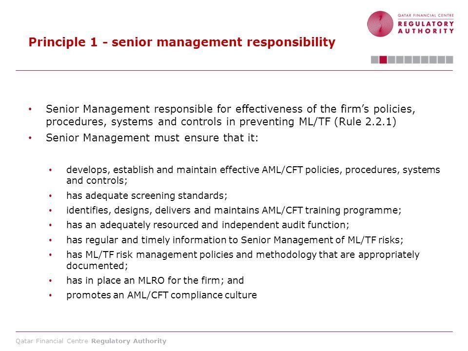 Principle 1 - senior management responsibility