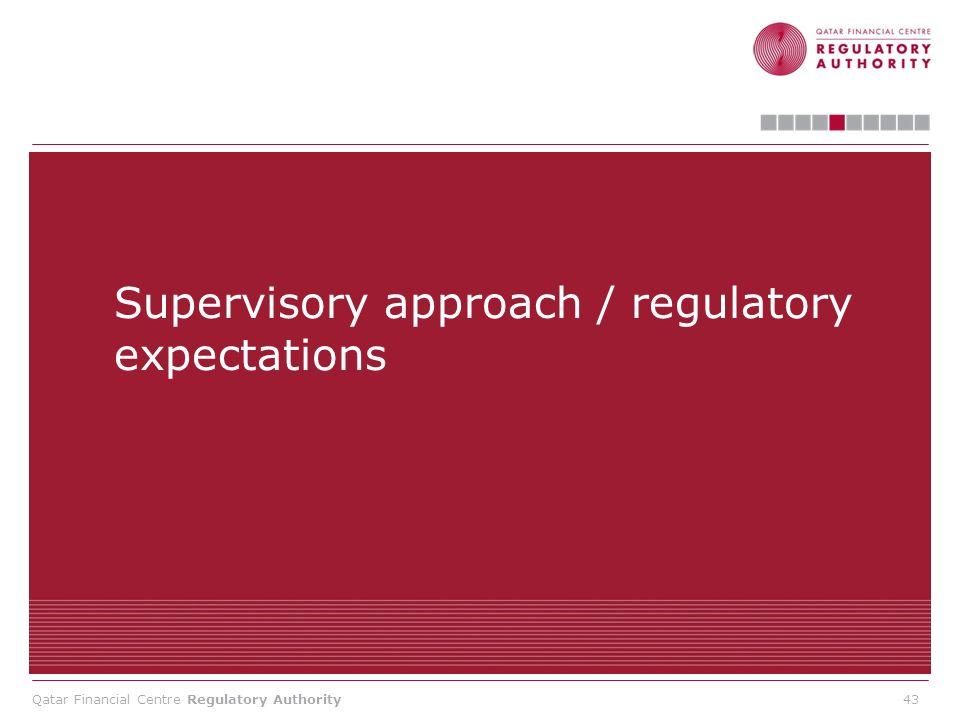 Supervisory approach / regulatory expectations