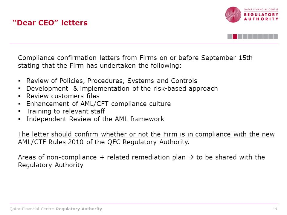 Dear CEO letters Compliance confirmation letters from Firms on or before September 15th stating that the Firm has undertaken the following: