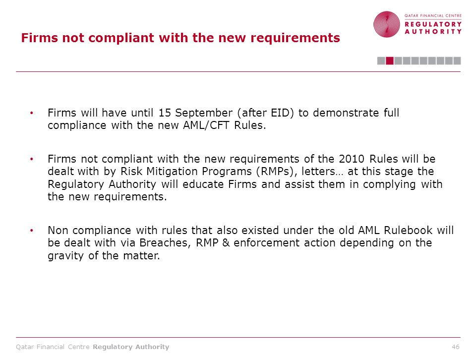 Firms not compliant with the new requirements