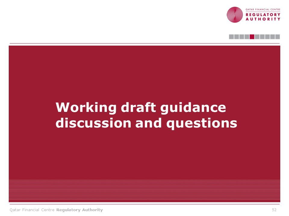 Working draft guidance discussion and questions